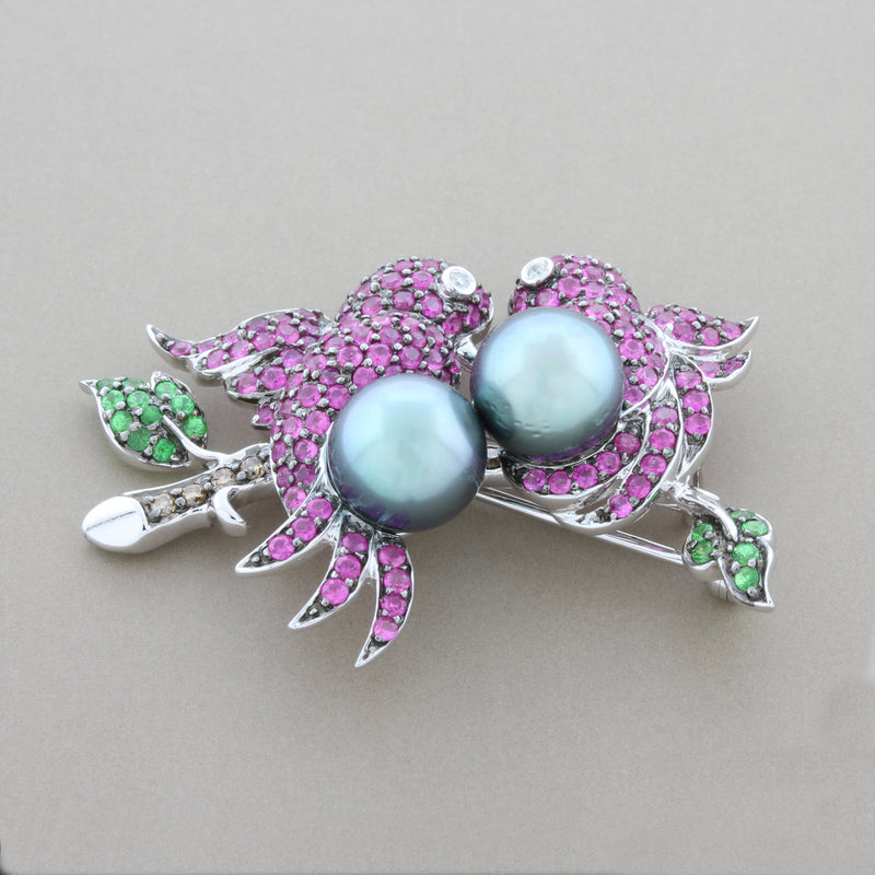 Tahitian Pearl Ruby Emerald Diamond Gold Bird Brooch