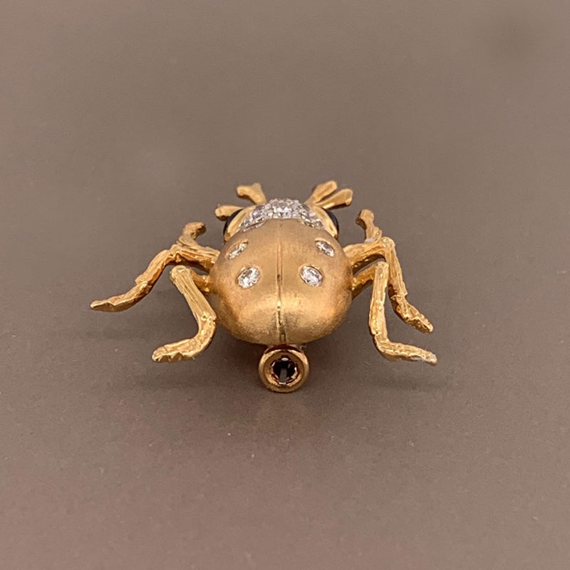 Sapphire Diamond Gold Insect Pin Brooch