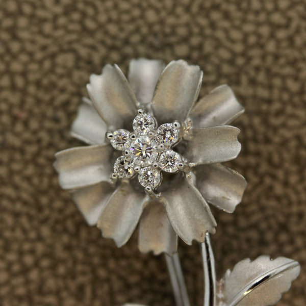 Diamond Flower Gold Pin Brooch
