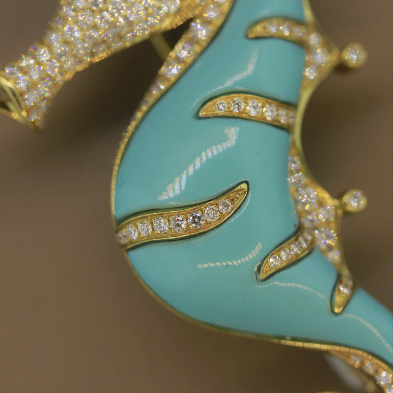 Diamond Turquoise Peridot Gold Seahorse Brooch
