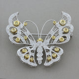 Fancy Color Diamond Gold Butterfly Brooch