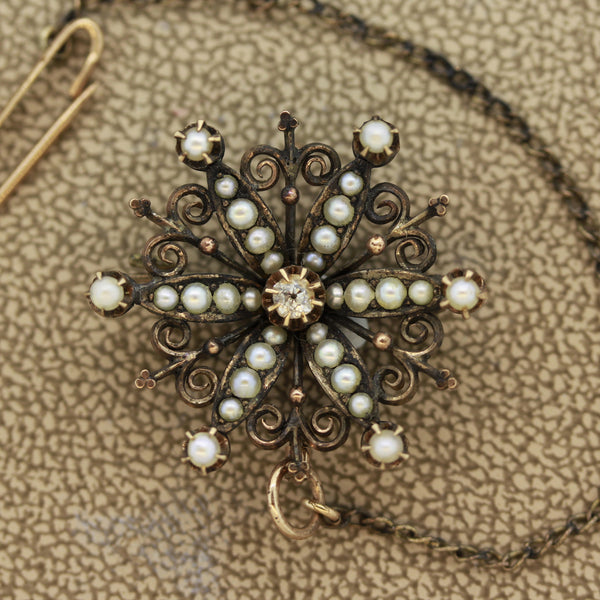 Antique Diamond Seed-Pearl Gold Brooch