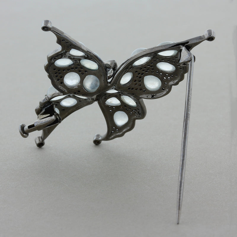 Moonstone Diamond Gold Butterfly Brooch