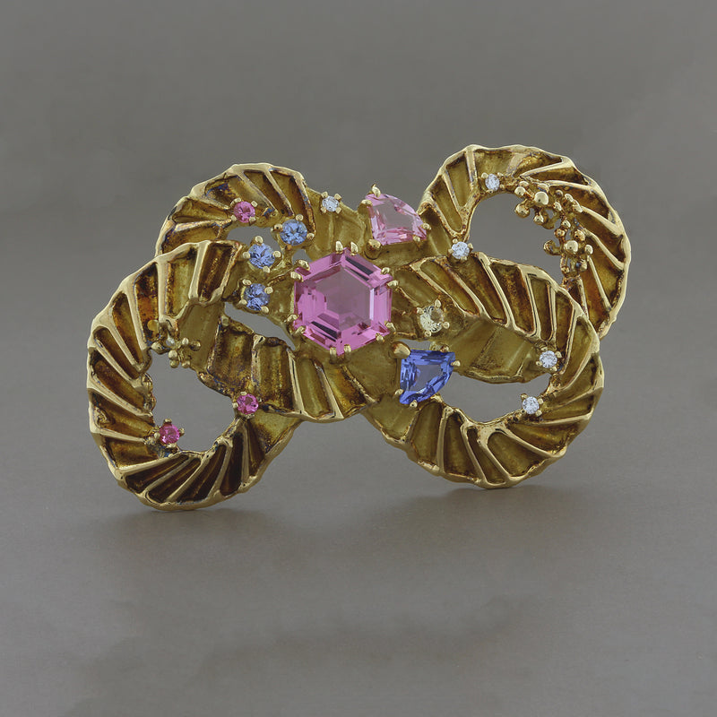 Estate Tourmaline Diamond Gold Brooch