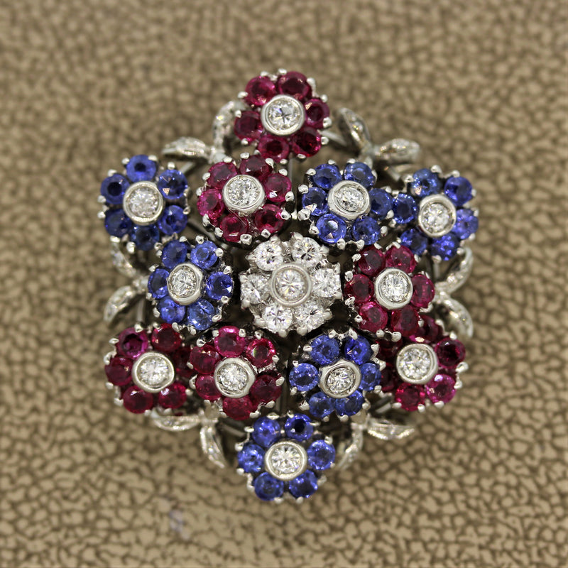 Mid-Century Diamond Ruby Sapphire Gold Dancing Flowers Brooch