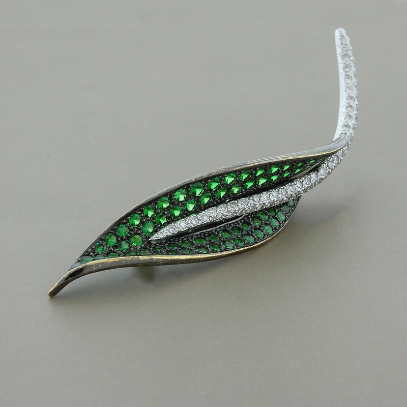 Estate Tsavorite Diamond Gold Leaf Brooch