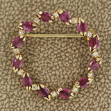 Ruby Diamond Gold Wreath Pin-Brooch