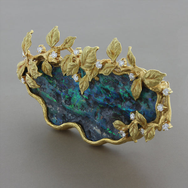 Estate Boulder Opal Diamond Gold Brooch or Pendant