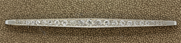 Edwardian Diamond Platinum Bar-Pin Brooch