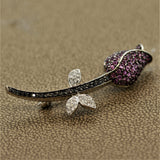 Pink Sapphire Black & White Diamond Gold Flower Pin Brooch