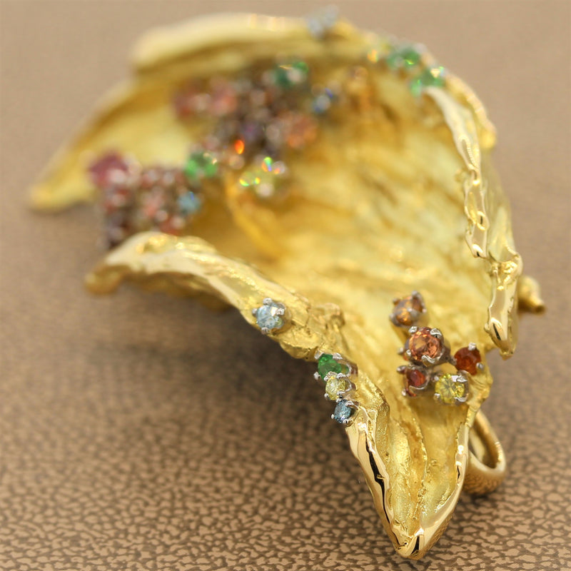 Mitsuo Kaji Multi-Color Gem Diamond Gold Brooch Pendant