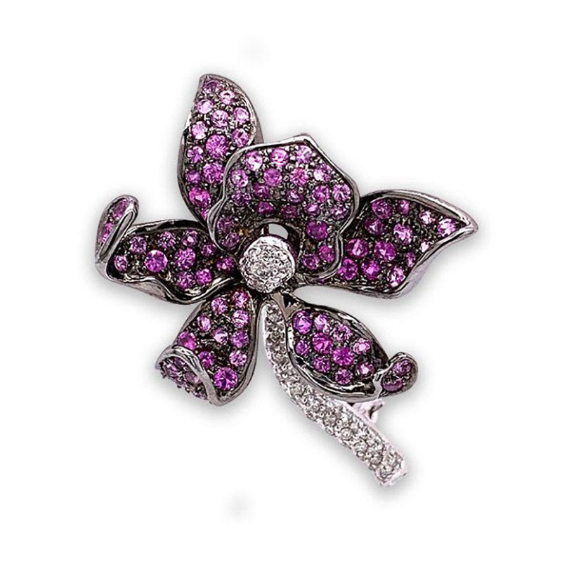 Diamond Pink Sapphire Gold Orchid Pin Brooch