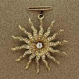 Victorian Antique Diamond Seed-Pearl Gold Sunburst Brooch
