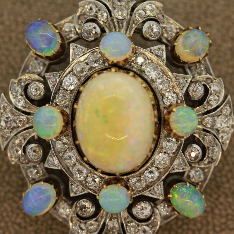 Edwardian Diamond Opal Pendant-Brooch