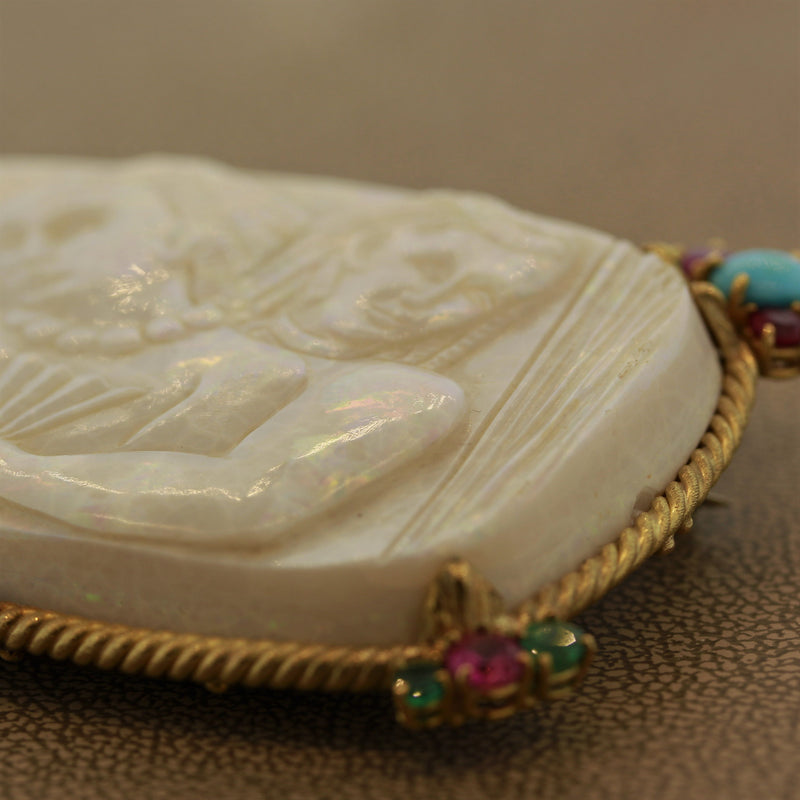 Australian White Opal Turquoise Ruby Emerald Gold Egyptian-Style Carving Pendant