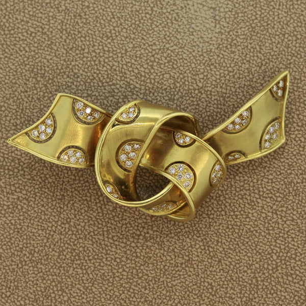 Diamond Gold Satin Bow Brooch