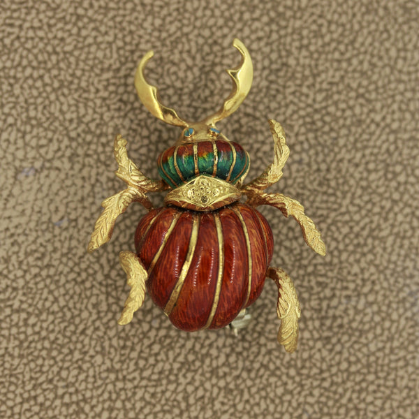Mid-Century Italian Enameled Gold Horned-Beetle Pin Brooch
