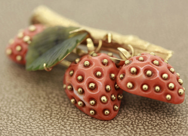 Coral Nephrite Gold Strawberry Brooch