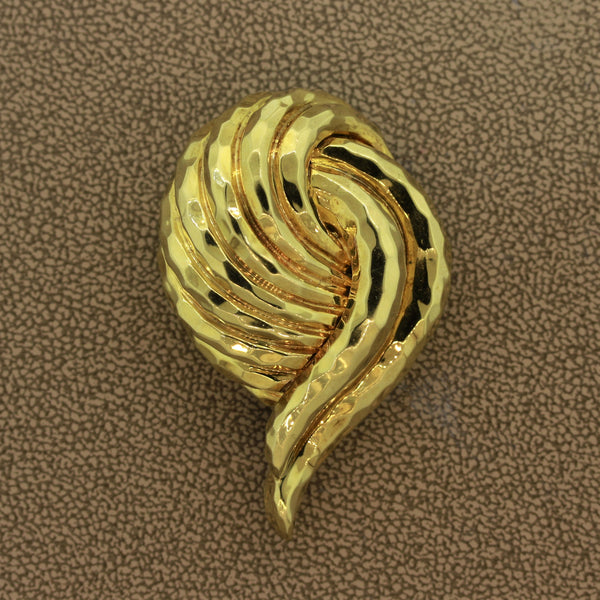 Henry Dunay Hammered Gold Brooch