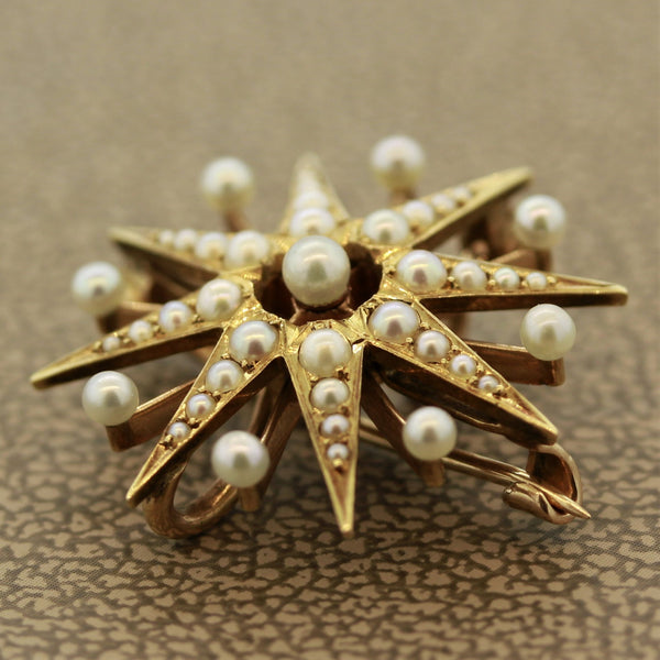 Victorian Seed-Pearl Gold Starburst Pin-Pendant