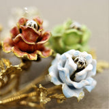 Italian Gold Enameled Rose Bouquet Diamond Brooch
