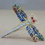 Diamond Ruby Plique-a-Jour Enamel Gold Dragonfly Brooch