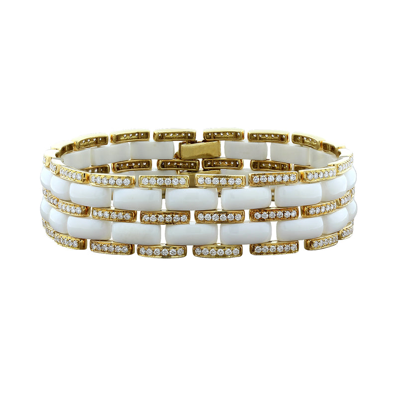 White Onyx Diamond Gold Bracelet