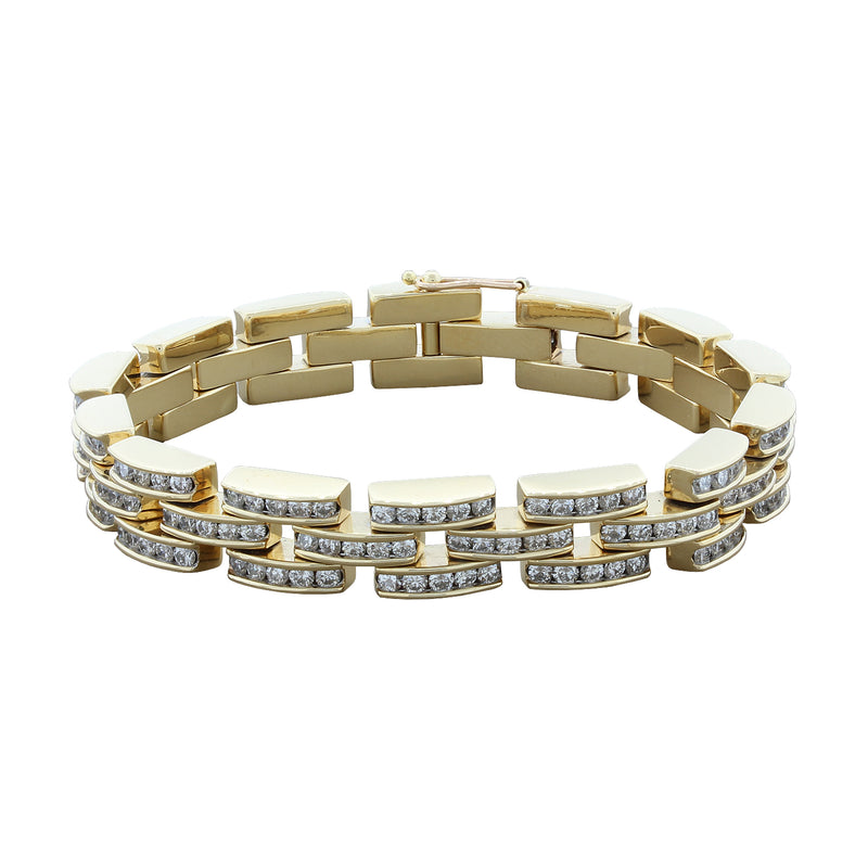 Diamond Gold 'Bricks' Bracelet