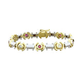 Ruby Diamond Two-Tone Gold Bracelet