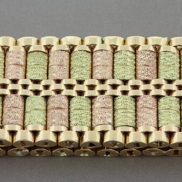 Iranian Two-Tone Textured Gold Bracelet