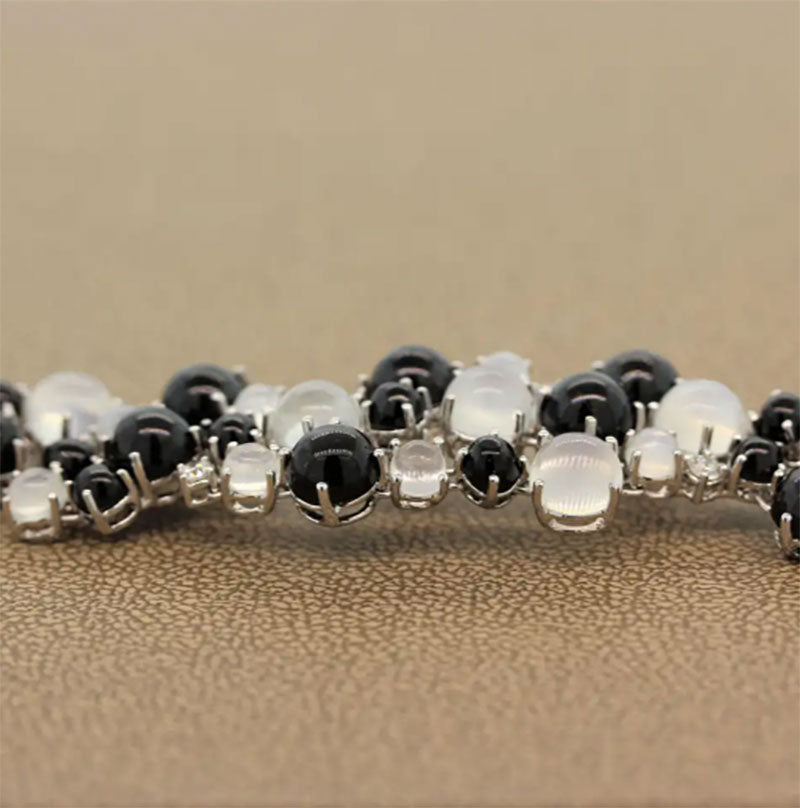 Moonstone Star Diopside Diamond Gold Bracelet