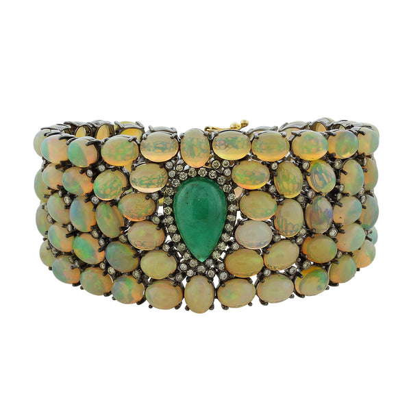 Estate Cabochon Emerald Opal Diamond Gold Bracelet