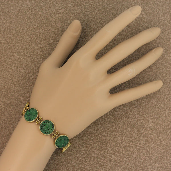 Carved Nephrite Gold Bracelet