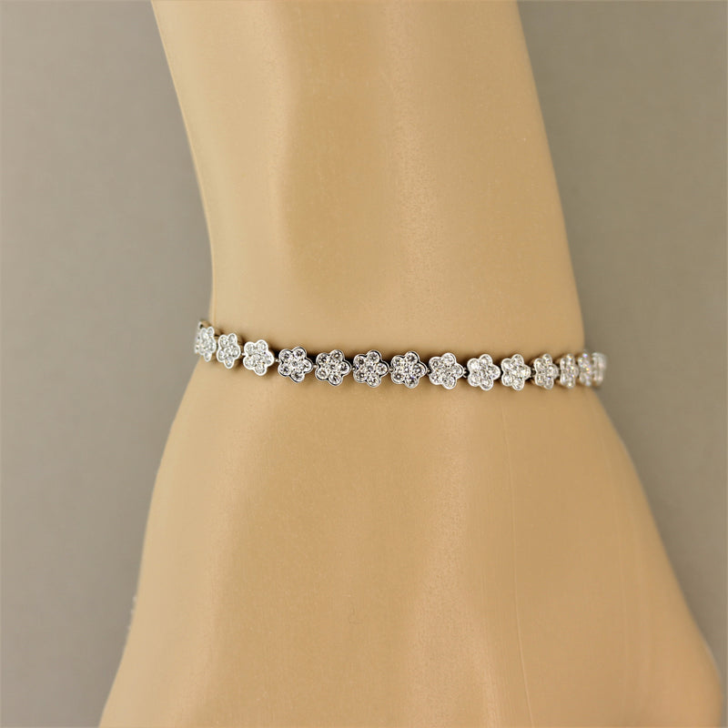 Diamond Gold Flower Tennis Bracelet