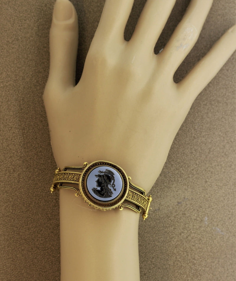 Victorian Onyx Cameo Gold Bangle Bracelet