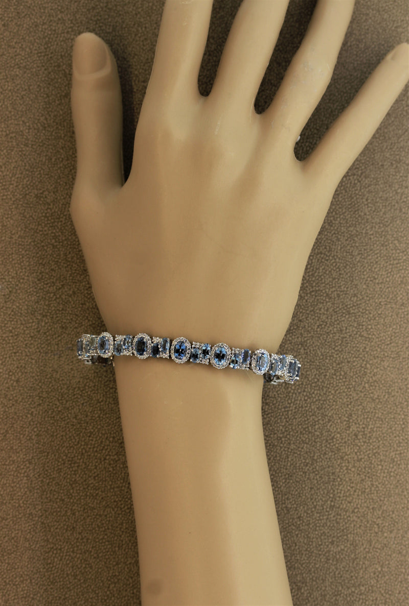Fine Aquamarine Diamond Gold Bracelet