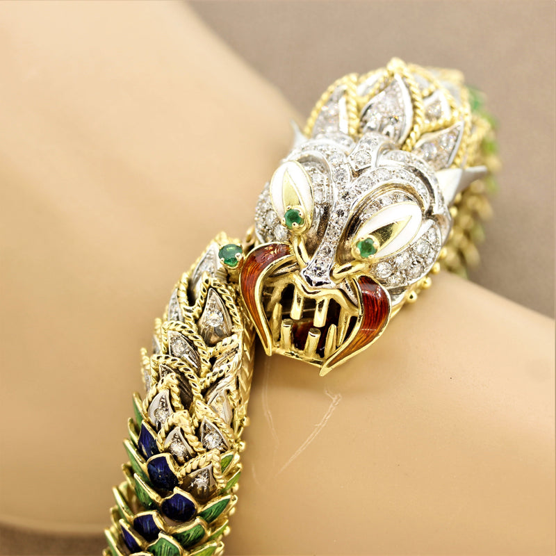 Italian Diamond Emerald Enamel Dragon Gold Bracelet