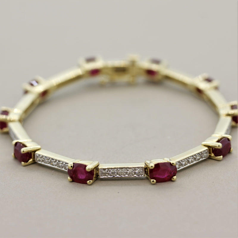Ruby Diamond Gold Tennis Bracelet