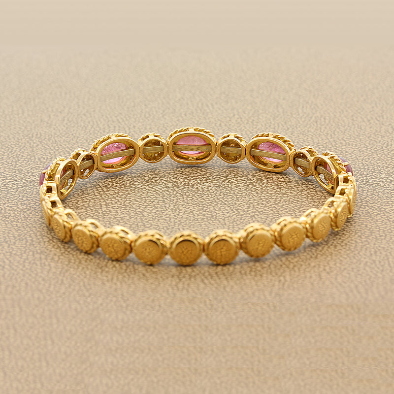 Italian Pink Tourmaline Diamond Gold Stretch Cuff Bracelet