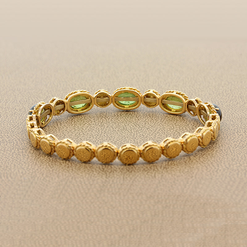 Italian Tourmaline Diamond Gold Stretch Cuff Bracelet