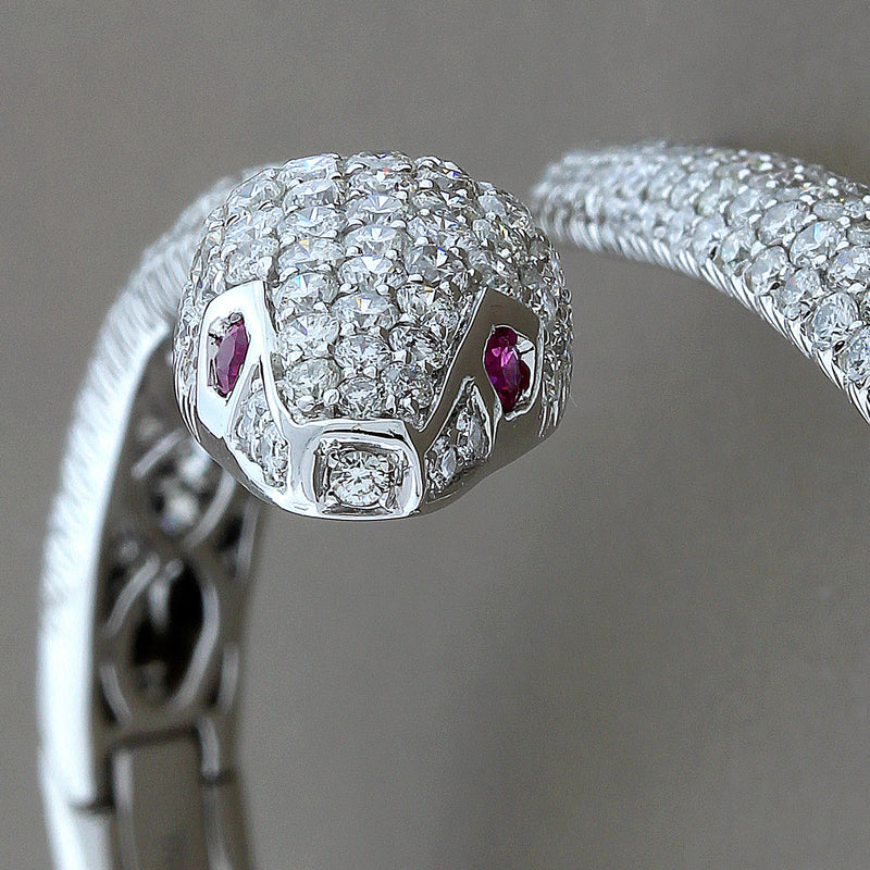 Diamond Ruby Gold Snake Cuff Bracelet