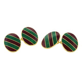 Tiffany & Co. Red and Green Enamel Gold Cufflinks