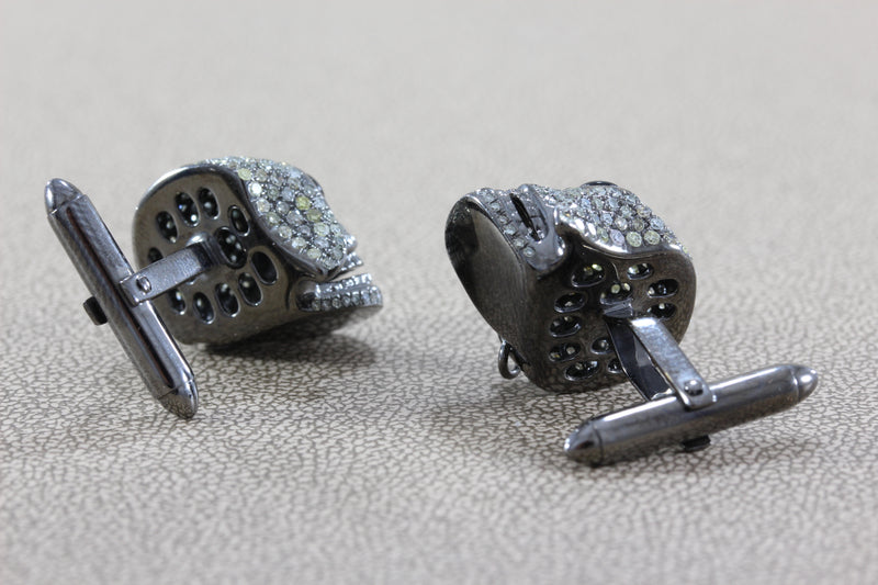 Pirate Skull Diamond Onyx Gold Cufflinks