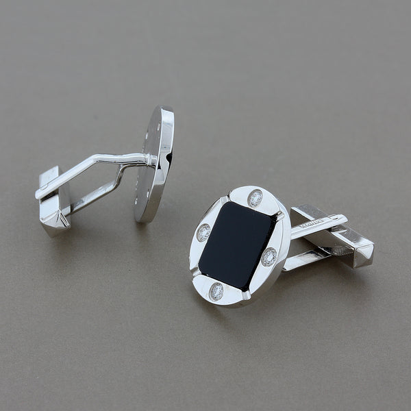 Diamond Black Onyx Gold Cufflinks