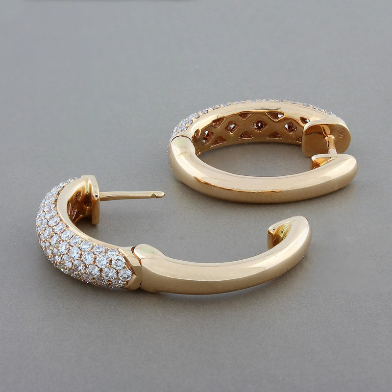 Diamond Gold Oval Hoop Earrings