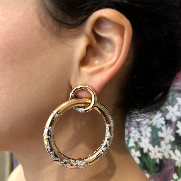 Estate Diamond Gold Hoop Earrings