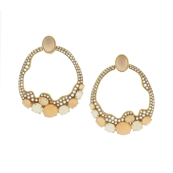 Modern Moonstone Diamond Gold Earrings