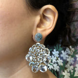 Aquamarine Diamond Gold Drop Earrings