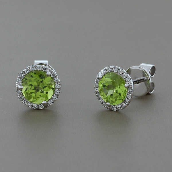 Peridot Diamond Gold Stud Earrings