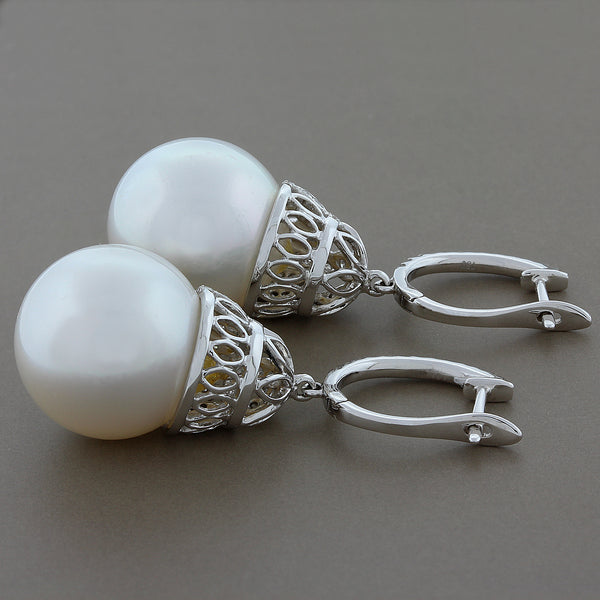 White South Sea Pearl Diamond Gold Drop Earrings